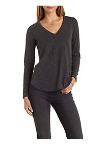 Marled High-Low Pullover Top with Zipper