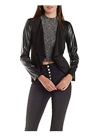 Pointed Hem Blazer with Faux Leather Sleeves