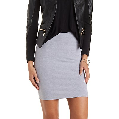 Stretch Cotton Pencil Skirt with Wide Waistband