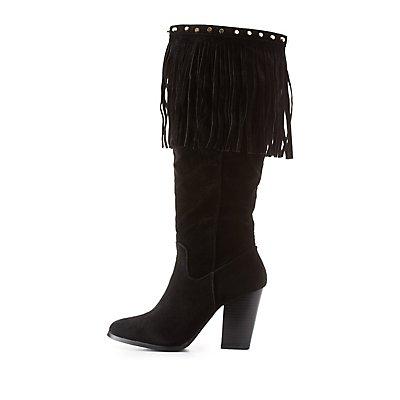 Knee-High Fringe Boots