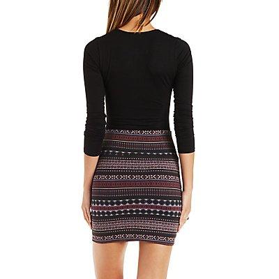 Striped Tribal Print Mini Skirt