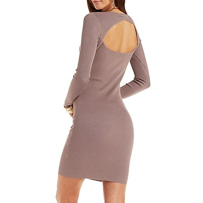 Ribbed Open Back Sweater Dress
