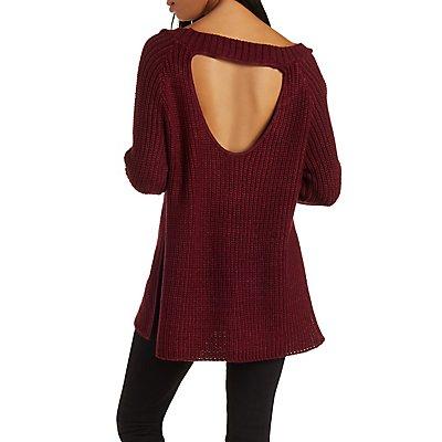 Open Back Side Slit Sweater