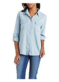 Button-Up Light Wash Chambray Top with Pockets
