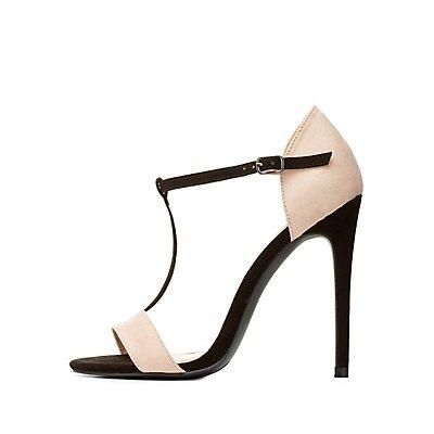 Color Block T-Strap Dress Sandals