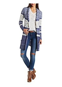 Striped & Marled Duster Cardigan with Belt