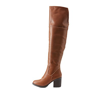 Bamboo Chunky Heel Over-the-Knee Boots