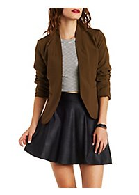 Reverse High-Low Cropped Blazer