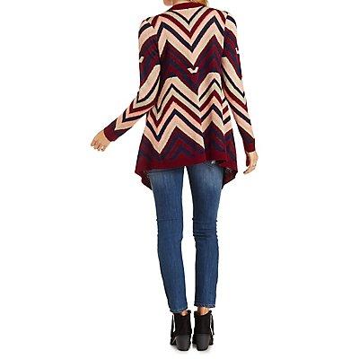 Chevron Cascade Fringe Cardigan Sweater