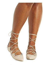 Grommet-Embellished Lace-Up Pointed Toe Flats