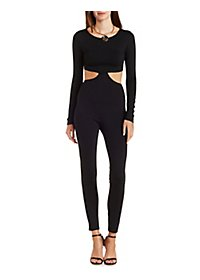 Long Sleeve Jumpsuit with Waist Cut-Outs