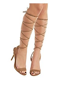 Single Strap Tall Lace-Up Heels