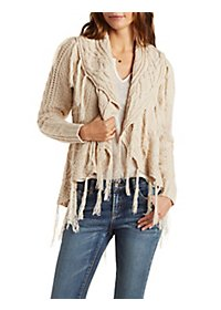 Multi Knit Shawl Cardigan with Fringe