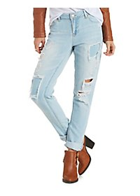 Light Wash Patched & Destroyed Boyfriend Jeans