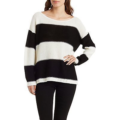 Slouchy Striped Scoop Neck Sweater