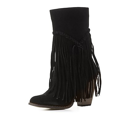 Fringed Stacked Heel Boots