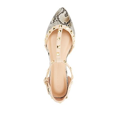 Studded Pointed Toe T-Strap Flats