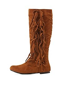 Fringed Slouchy Flat Boots