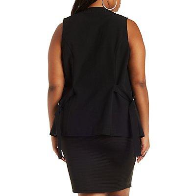 Plus Size Blazer Vest with D Rings