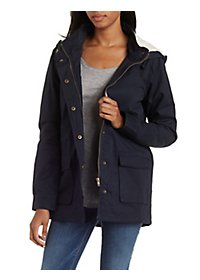 Fleece-Lined Hooded Anorak Jacket