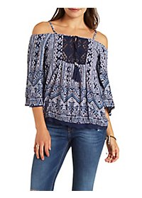 Cold Shoulder Geometric Print Top with Crochet