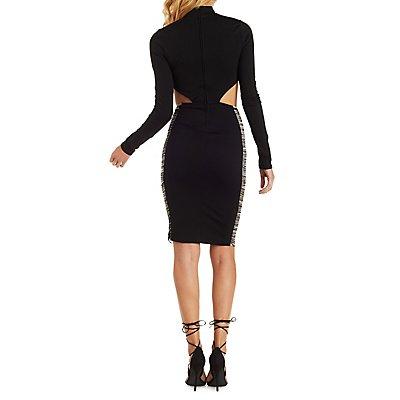 Fringe Trim Mock Neck Midi Dress