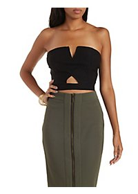 Strapless Cut-Out Crop Top