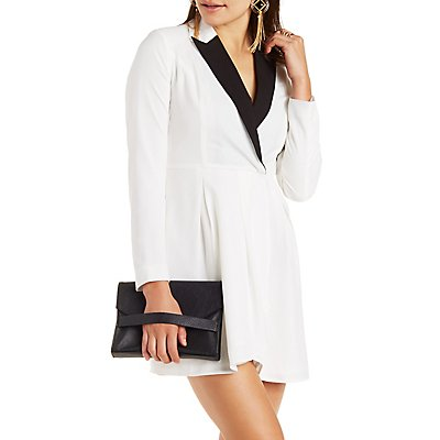 Color Block Wrap Blazer Dress