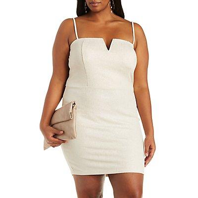 Plus Size Metallic Midi Dress
