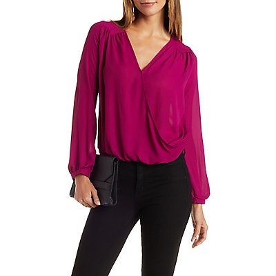 Deep V-Neck Chiffon Wrap Top