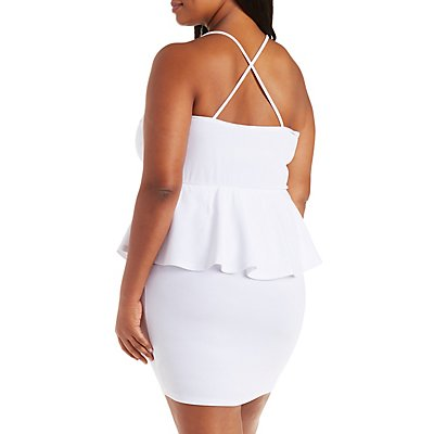 Plus Size Caged Front Peplum Dress
