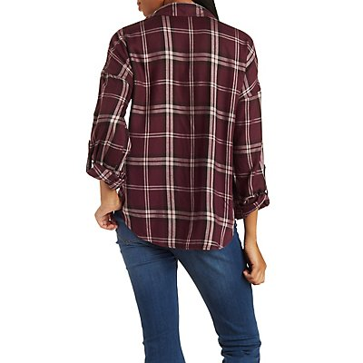 Button-Up Plaid Top with Pockets
