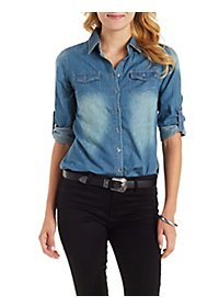 Button-Up Chambray Top