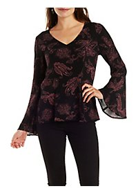 Gauzy Printed V-Neck Peasant Top with Bell Sleeves
