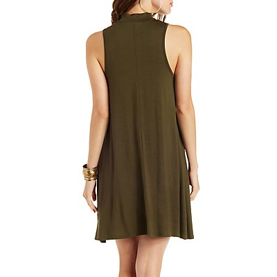Sleeveless Mock Neck Swing Dress