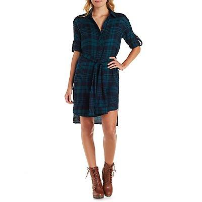 E.SSUE High-Low Plaid Shirt Dress