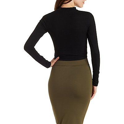 Ribbed Mock Neck Wrap Top