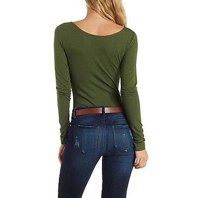 Long Sleeve Lace-Up Bodysuit