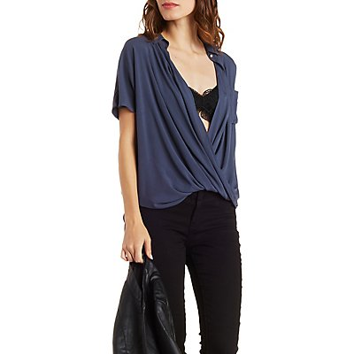 Twisted Hem Collared Wrap Top
