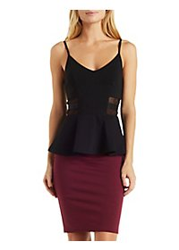 Elastic & Mesh Cut-Out Peplum Tank Top