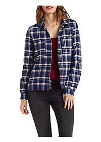 Plaid Button-Up Top with Pockets