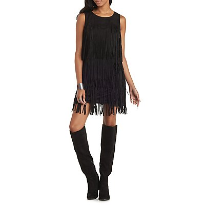 Skies Are Blue Faux Suede Fringe Shift Dress
