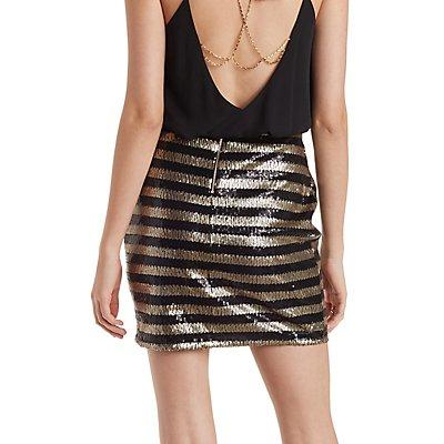 Sequin Stripe Bodycon Skirt
