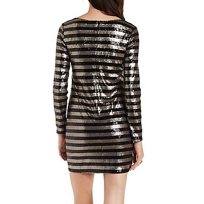 Striped Sequin Bodycon Dress