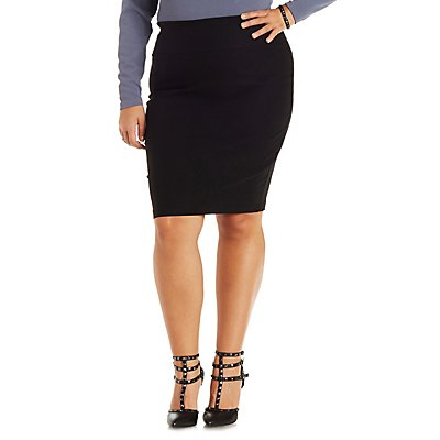 plus size high waisted bodycon pencil skirt russe