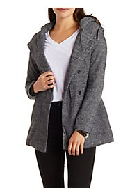 Marled, Hooded & Belted Fleece Coat
