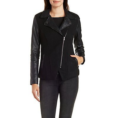 Faux Wool & Faux Leather Moto Jacket