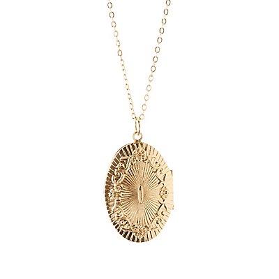 Lace Choker & Locket Pendant Necklaces - 2 Pack