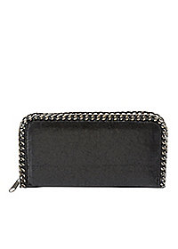 Faux Leather Wallet with Chain Trim