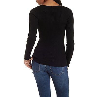 Lightweight Ribbed V-Neck Sweater